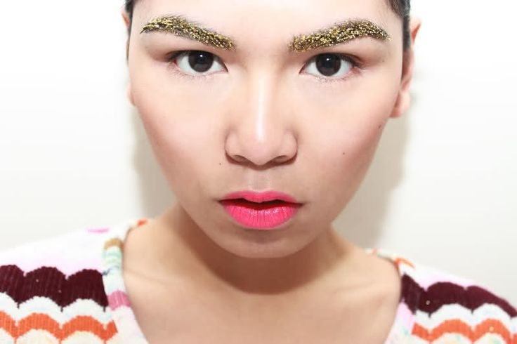 glitter eyebrow gold