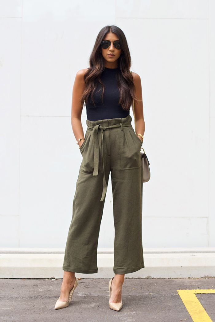 sleeveless top paperbag pants