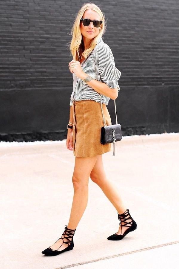 Suede skirt blouse fashion