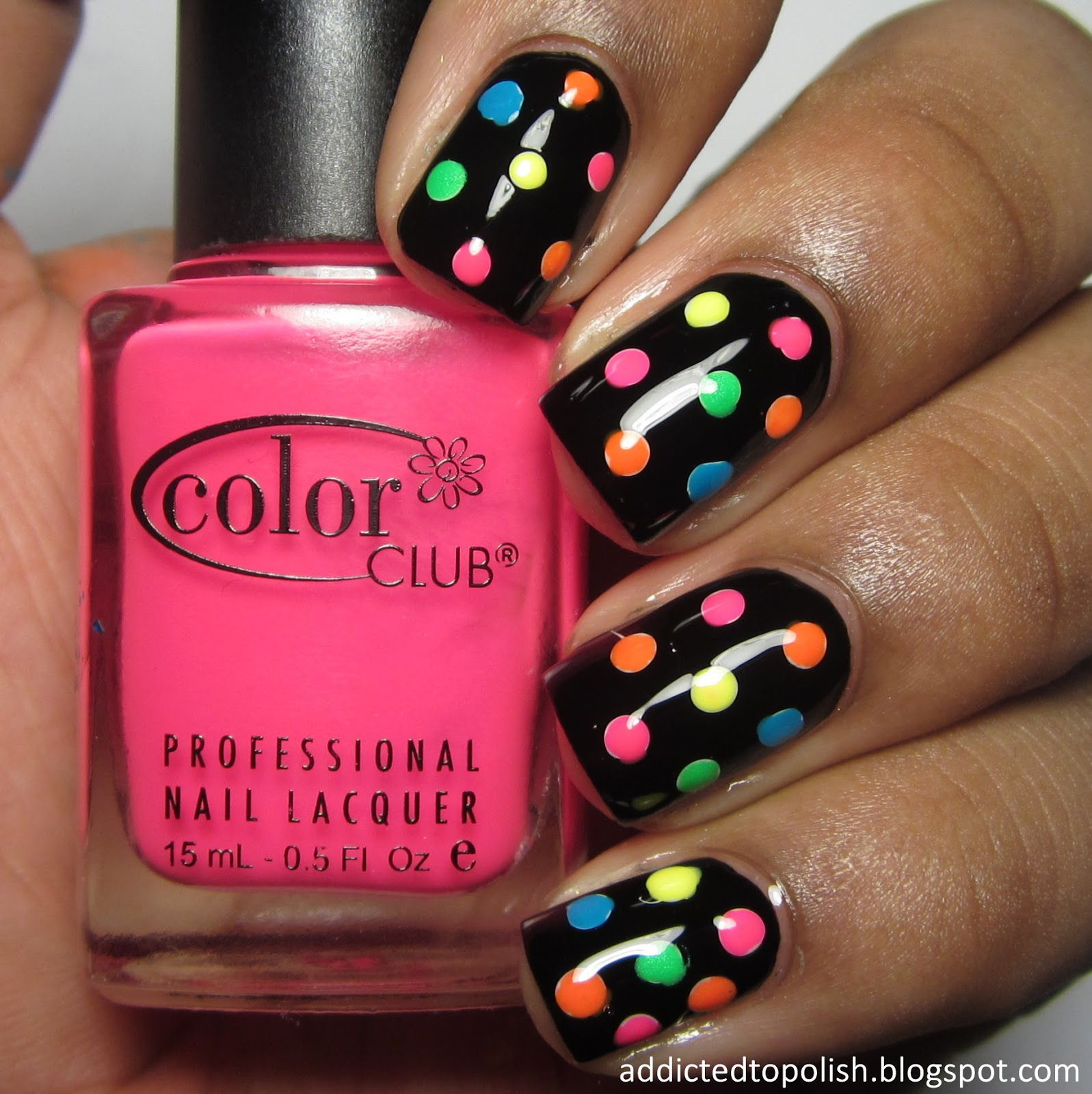 Black colourful polka dot nail art