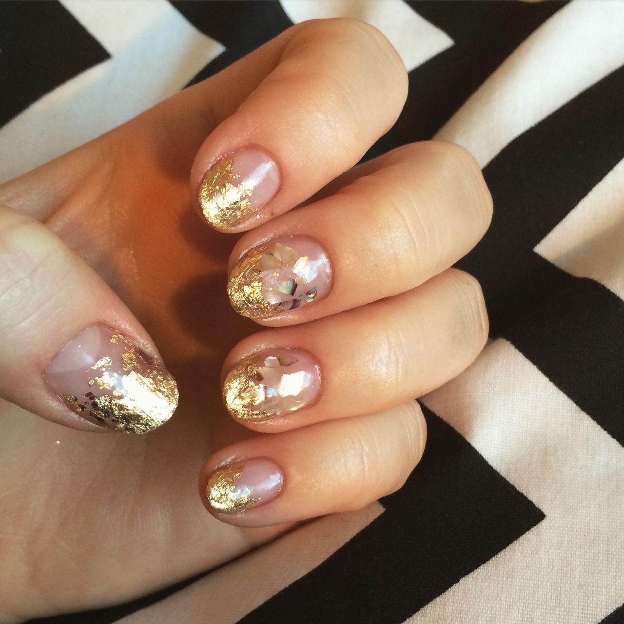 gold foil nail tips