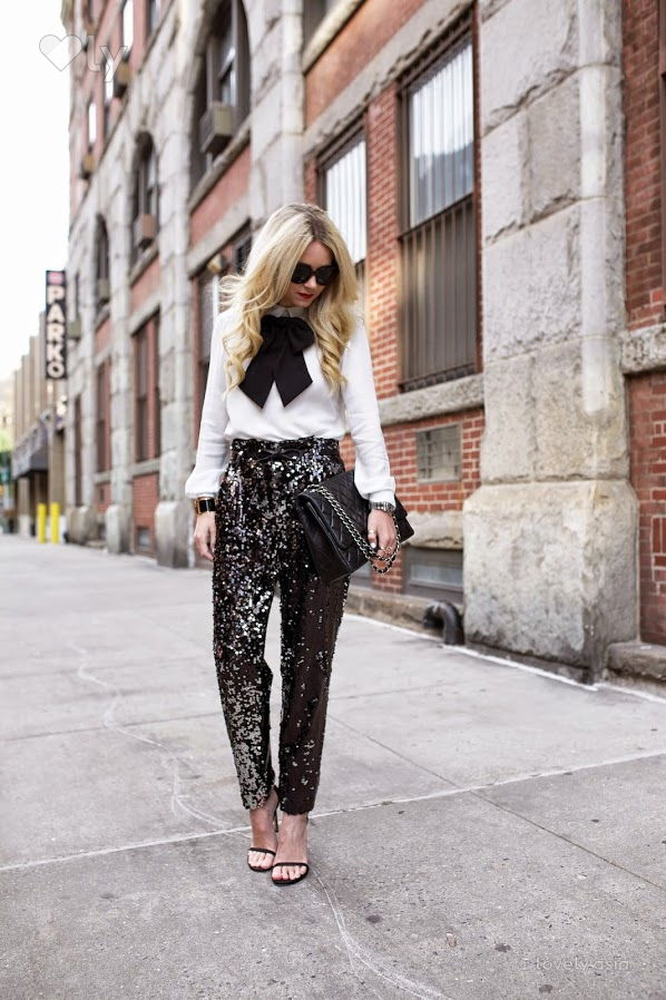 sequin black pants