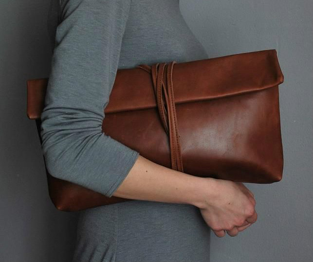 Brown Oversized Clutch