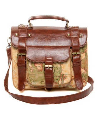 Atlas Map Print Satchel