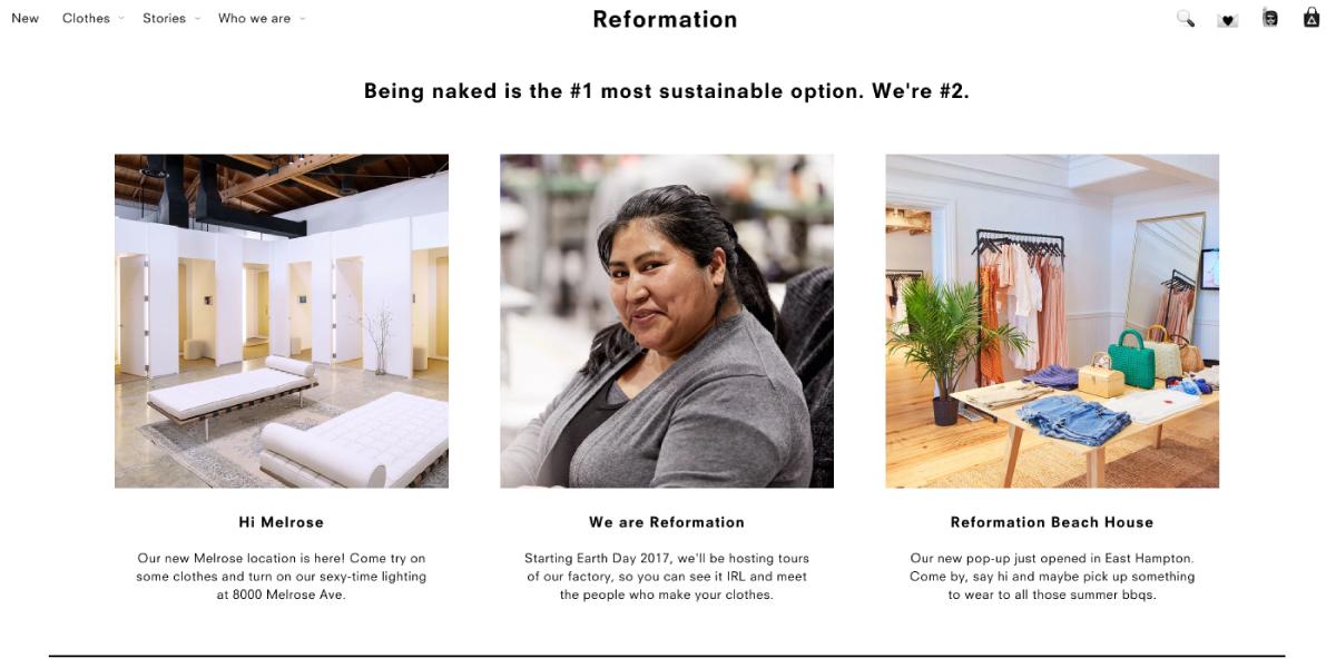luxe digital philantropic luxury retail ecommerce reformation conscious fashion