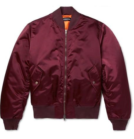 Luxe Digital luxury lifestyle burgundy bomber jacket Balenciaga