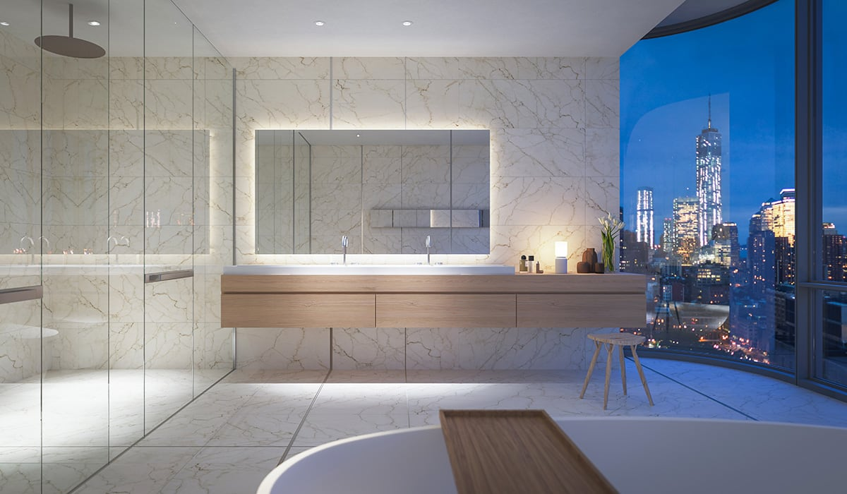 Luxe Digital luxury condo New York 565 Broome SoHo penthouse bathroom