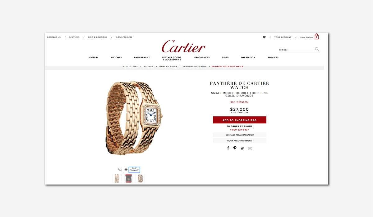 Best Luxury Brands Online Cartier Product Page Website Luxe Digital
