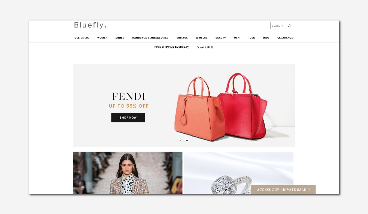 online luxury private sales discount website Bluefly Luxe Digital
