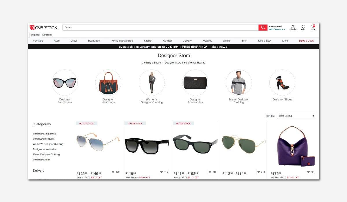 online luxury private sales discount website Overstock Luxe Digital