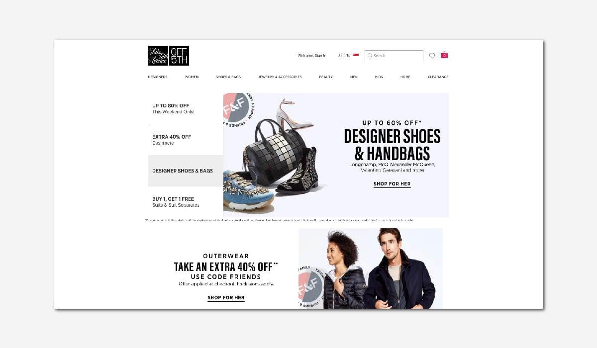 online luxury private sales discount website Saks off 5th Luxe Digital