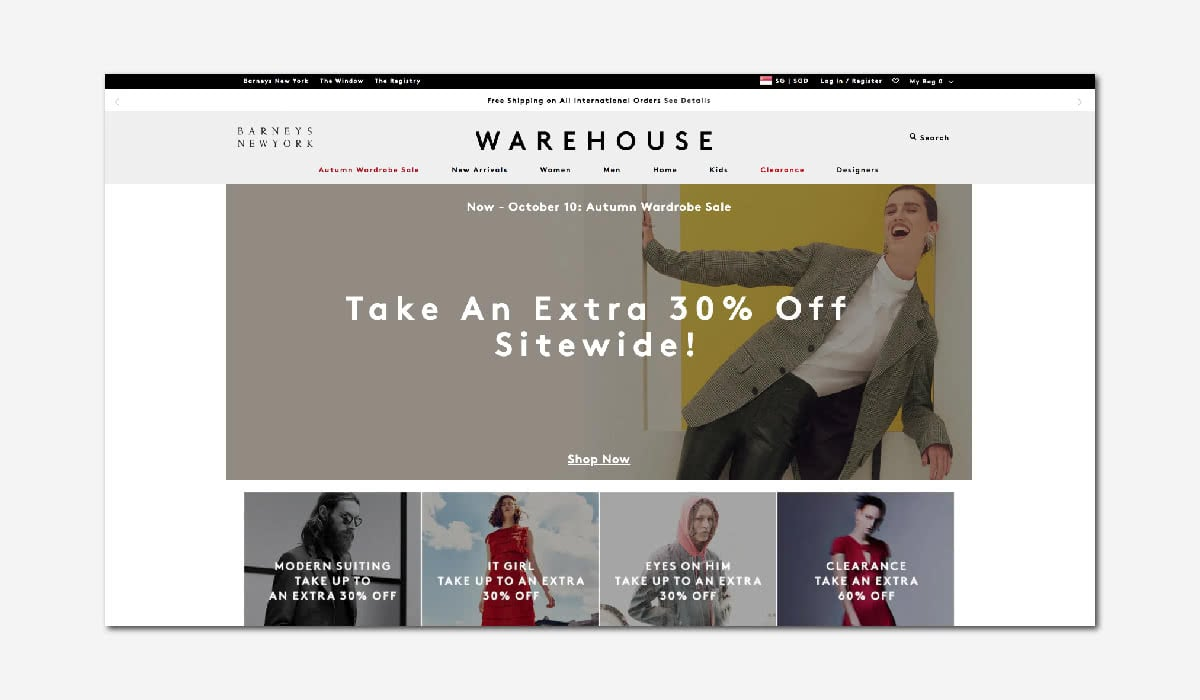 online luxury private sales discount website Barneys Warehouse Luxe Digital