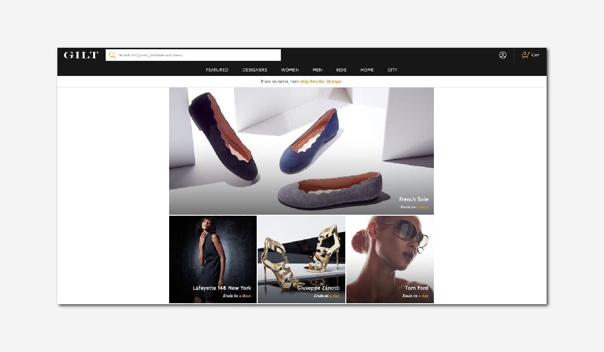 online luxury private sales discount website Gilt Luxe Digital
