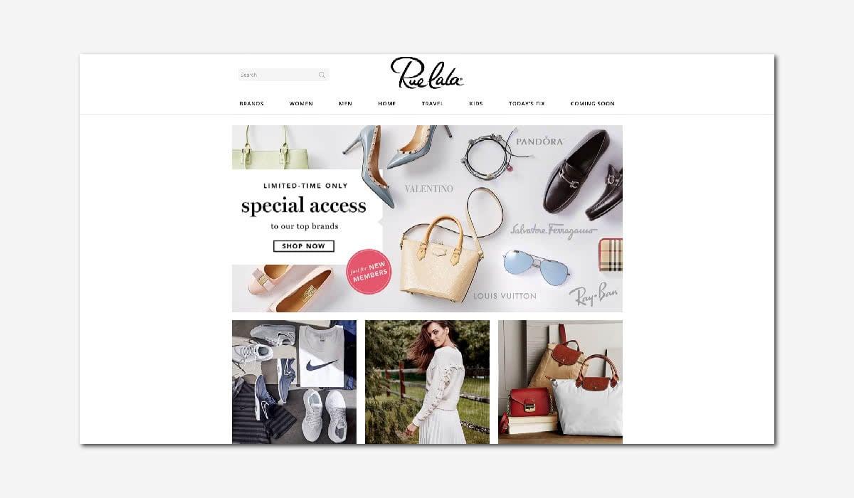 online luxury private sales discount website Rue La La Luxe Digital