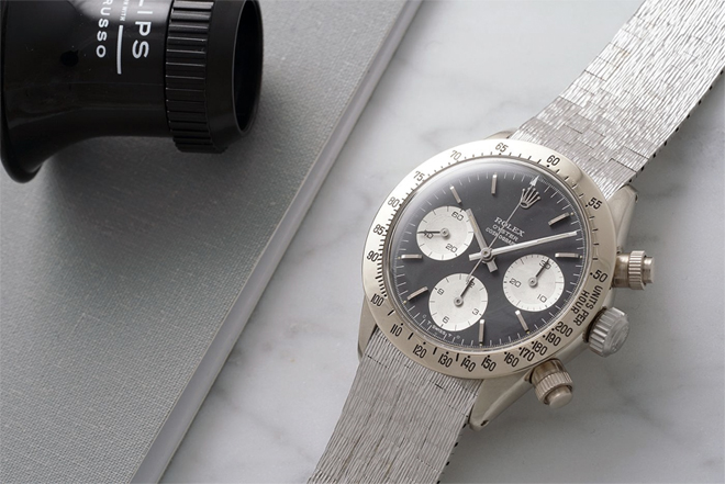 The unique vintage white gold Rolex Daytona will headline 'The Daytona Ultimatum', a thematic sale of 32 of the finest Rolex Daytonas ever made.