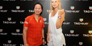 TAG Heuer builds floating tennis court, Sharapova tries it