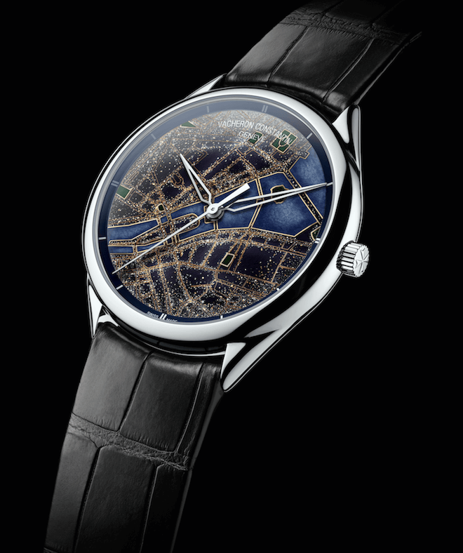 A watch from Vacheron Constantin's Métiers d'Art Villes Lumières collection, with applied precious metal powders on the enamelled surface