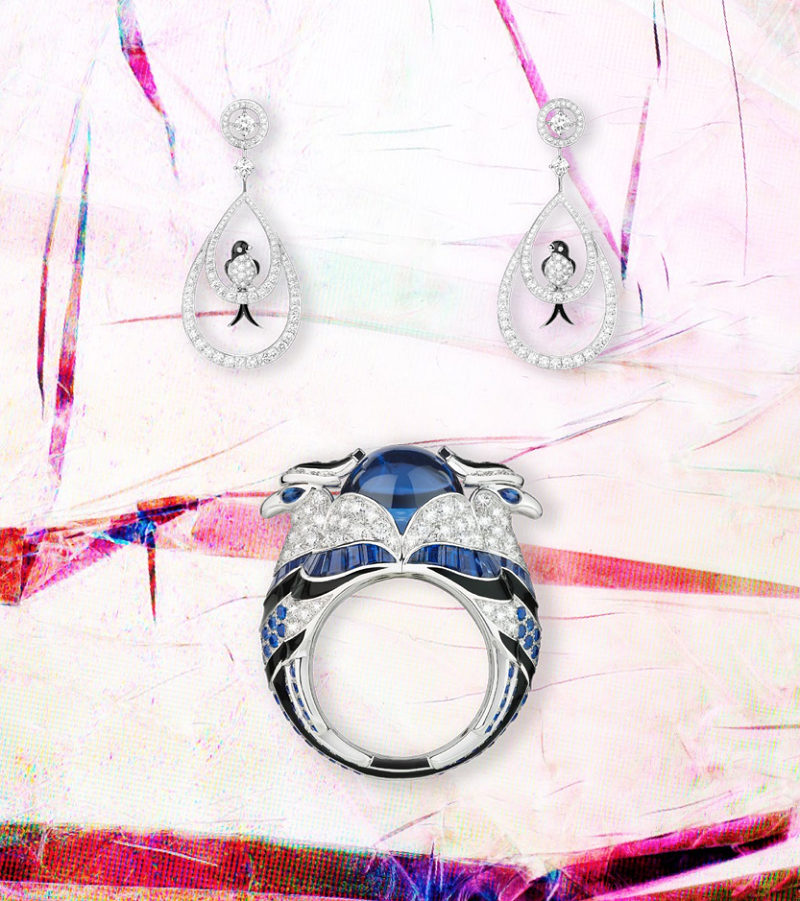 Hirunda the Swallows white gold earrings with diamonds and black lacquer, and Chinha the Eagle white gold ring with diamonds, sapphires and a cabochon tanzanite.