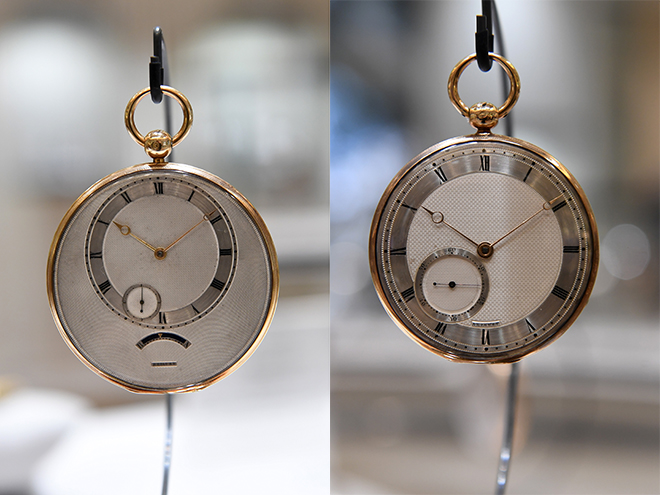 From left: N° 4265 Simple, flat twin barrel watch and N° 5084 Simple watch, both exemplars of heritage Breguet watchmaking