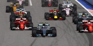 F1 Grand Prix, Sochi: Mercedes AMG's Valtteri Bottas, celebrates first trophy win
