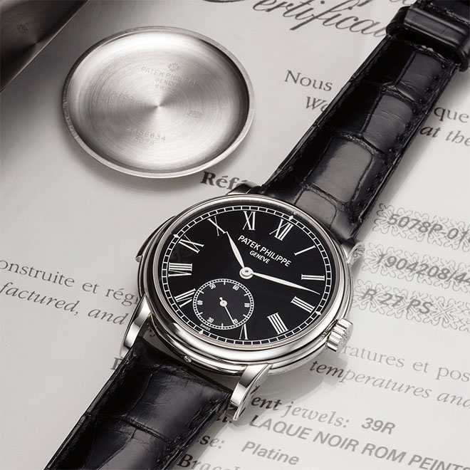 "This Patek Philippe Ref. 5078 Minute-Repeater with Black Dial in Platinum from the Antiquorum auction ""Important Modern and Vintage Timpieces"" is accompanied by a certificate of origin and a solid platinum case back, which unfortunately, would obscure the view of the superlative finishing on the chiming calibre. Estimated auction price: $250,000 - $350,000"