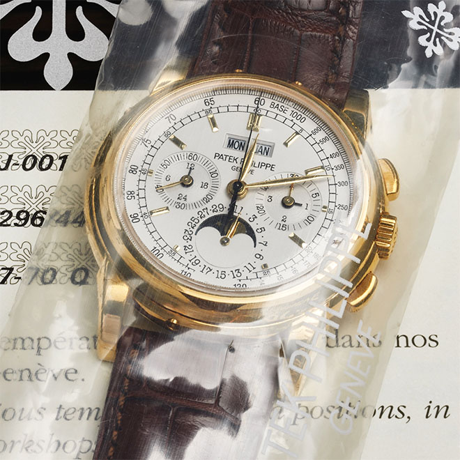 "The Lemania-based Patek Philippe Ref. 5970 Chronograph Perpetual Calendar in 18K yellow gold is considered by many watch collectors to be one of the safer ""investment pieces"". Case in point, auction prices have risen from each subsequent auction. Estimated Antiquorum auction price: $90,000 -$130,000"