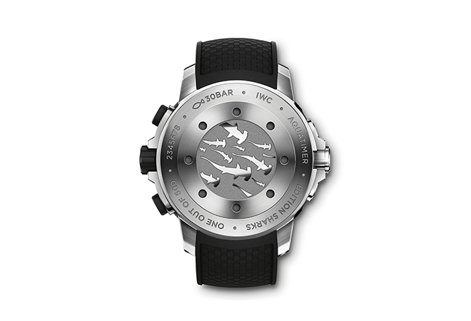 """Hammerhead sharks are featured on the back case of the IWC Aquatimer Chronograph Edition """"Sharks"""""""