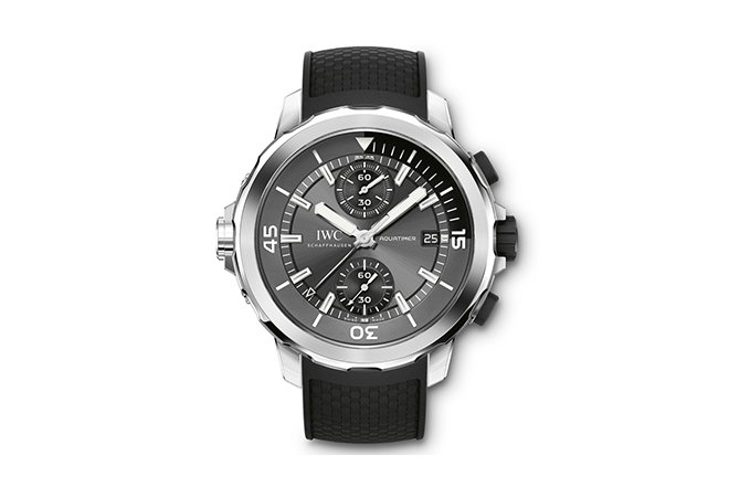 """The grey dial of IWC Aquatimer Chronograph Edition """"Sharks"""" references the colour of the species it was named after"""