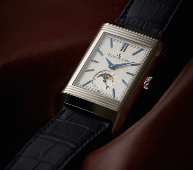 By reducing the number of complications, the Jaeger-LeCoultre Reverso Tribute Moon has more breathing room on its silver dial