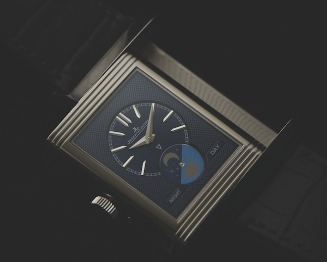 The Jaeger-LeCoultre Reverso Tribute Moon's dark blue dial