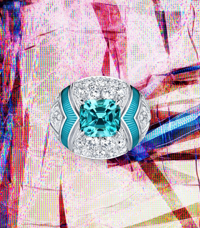 Excelsior white gold ring with diamonds and indigolite tourmalines.