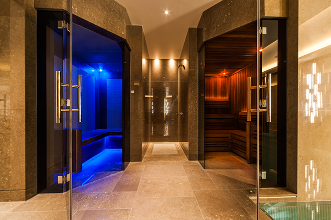 Aqua platinum luxury home spa installation of hot sauna and cool bio-sauna