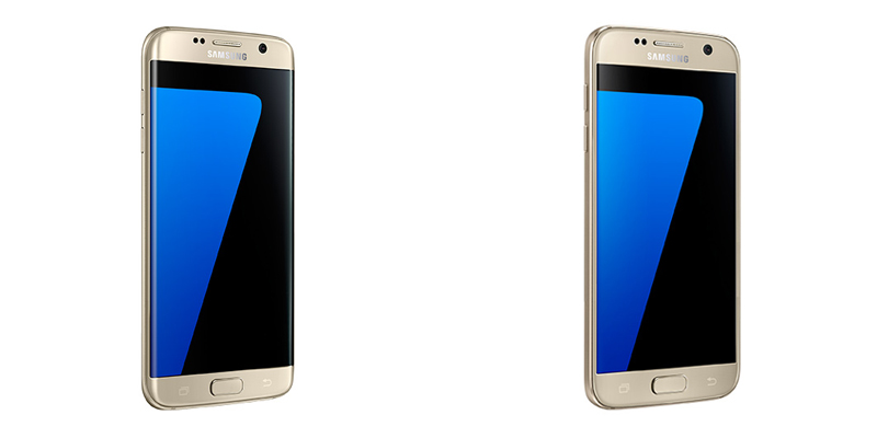 Samsung Galaxy S7 edge 4G+ and Samsung Galaxy S7 4G+ in Gold Platinium