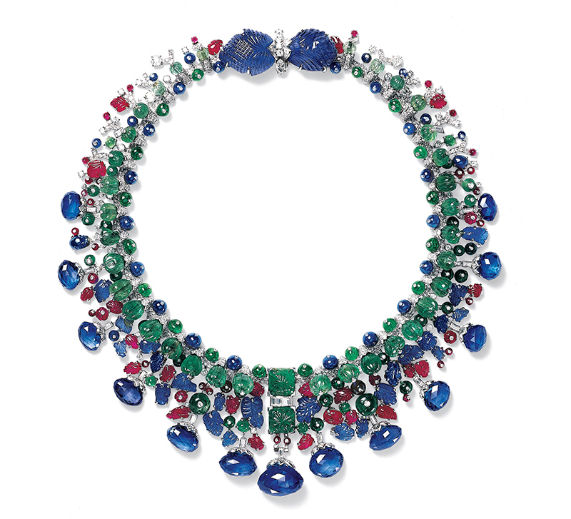 1963 Tutti Frutti platinum and white gold necklace with sapphires, emeralds, rubies and diamonds.