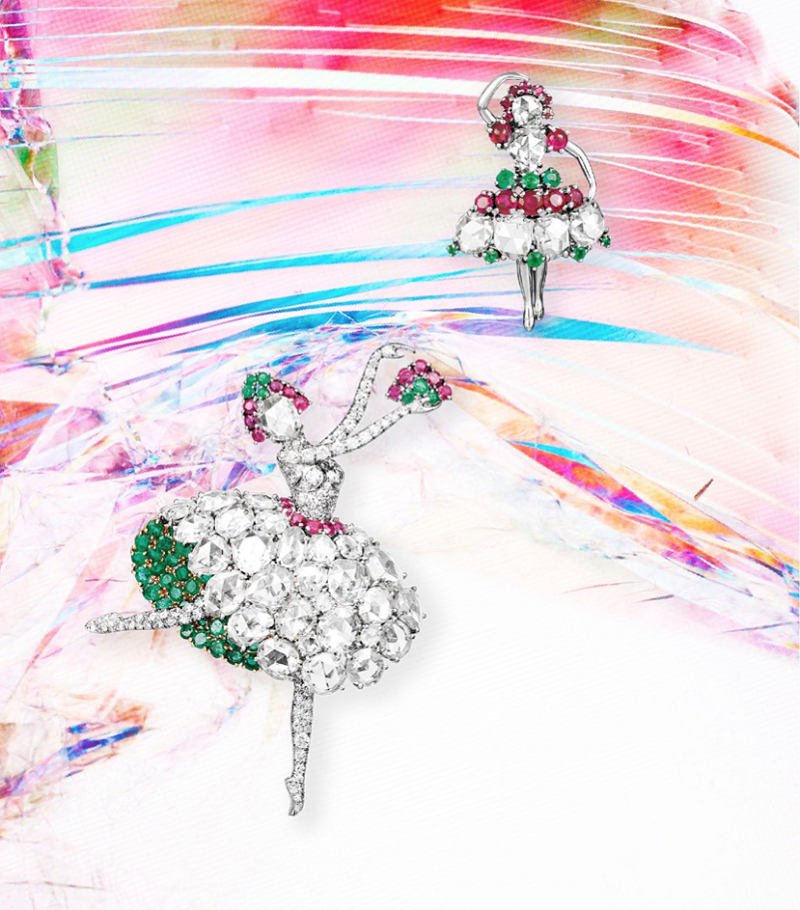 Spanish Ballerina platinum and gold clip with diamonds, emeralds and rubies, and Ballerina platinum brooch with diamonds, emeralds and rubies.