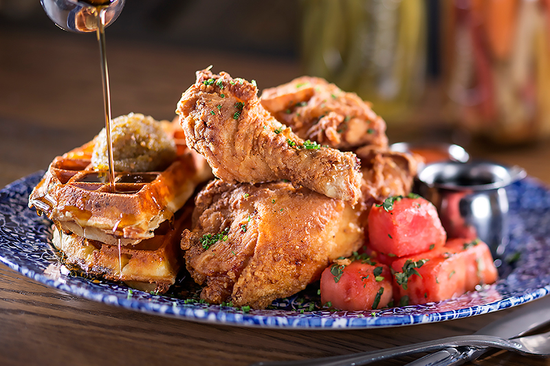 Yardbird Southern Table & Bar Lewellyn's Fried Chicken with waffles and watermelon