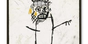 Art auction in London, United Kingdom: Artist Jean-Michel Basquiat's self portrait goes up for sale at Christie's