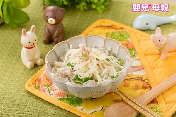 寶寶副食品,小白菜絞肉麵成品圖