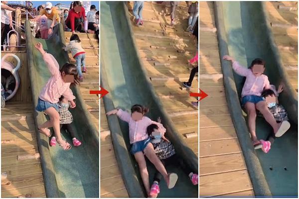 溜滑梯是最容易讓孩子受傷的第一名,家長一定要時刻注意。