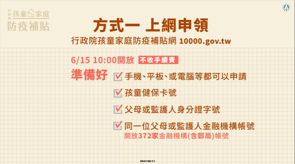 孩童家庭防疫補貼6/15開始發放,可透過網路申請、領取