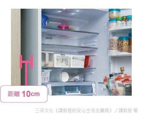 冰箱運行時會自主散熱,注意須跟牆面或其它家具保持至少10公分以上的距離