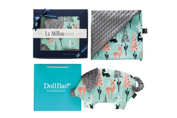 防蟎寢具:【彌月禮盒】歐洲波蘭La Millou-豆豆小豬枕+單面巧柔豆豆毯