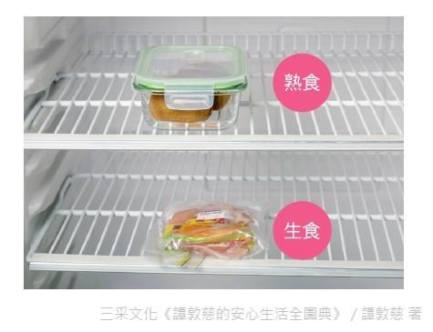 未吃完的熟食或可即食的水果放上層,生食則是放在下層,如此才不會發生生食汙染熟食的情況