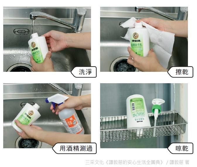 先將瓶子洗淨、擦乾,最好再用75%酒精涮一涮,晾乾後再倒入補充液