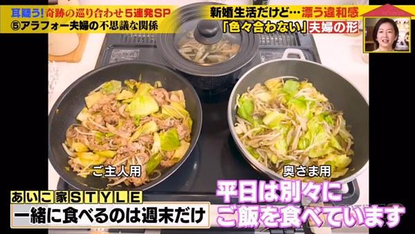 日夫妻結婚2年,平時下廚是一人一個炒鍋各自調味。