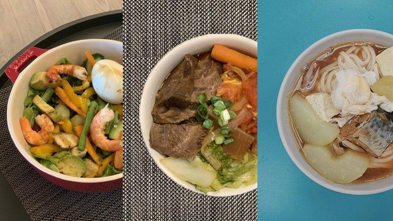 酪梨鮮蝦沙拉(左)、牛肉麵(中)和鯖魚茄汁湯麵(右),都是可以快速上菜的營養餐點。劉馥萱營養師、李婉萍營養師提供。