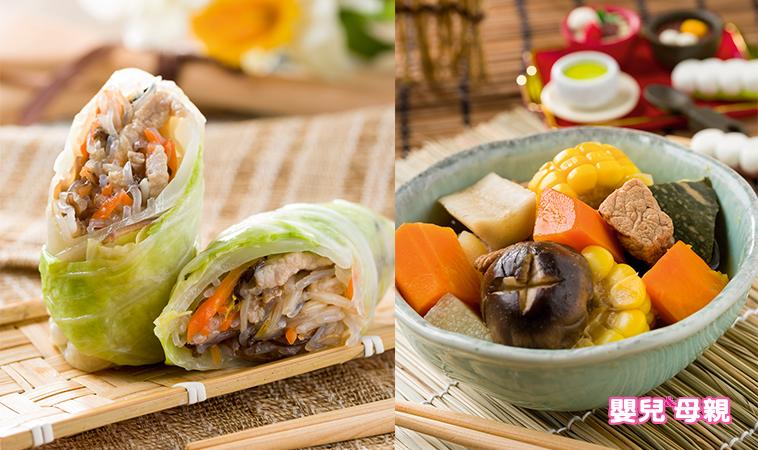 木耳粉絲高麗菜捲、日式蔬菜煮