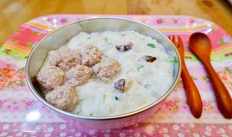 寶寶副食品DIY,野菇燉飯佐豬肉丸