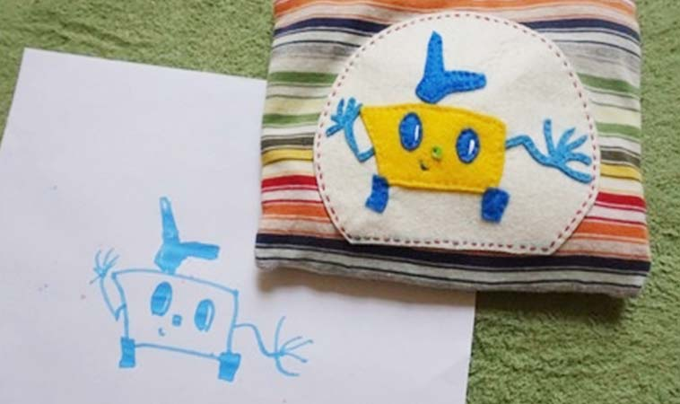 用孩子的畫,做出獨一無二的隨身小收納袋