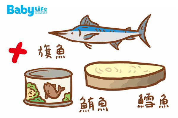 在臺灣最常見的含汞魚就是鯊魚、旗魚、大型鮪魚(黑鮪、大目鮪、黃鰭鮪)、鱈魚。